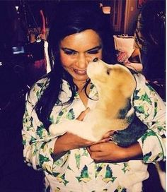 Mindy Kaling from The Mindy Project wearing our Green Cabana Birds Night Shirt