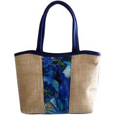 Bolsa em Palha com Estampa Floral Frontal Azul, bolsa grande para praia ou cidade, combina com vários looks, versátil. Flores