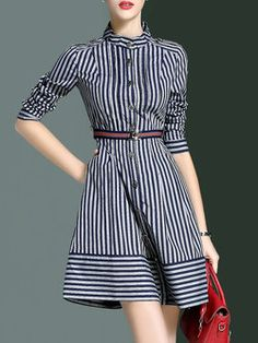 Blue Stand Collar Casual Stripes Shirt Dress with Belt