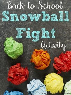 Back to School 'Snowball' Fight Here is a quick and really fun get-to-know you activity for the first week of school. Have each student take out a sheet of notebook paper and write three interesting, but not widely known facts ab… - Back To School Get To Know You Activities, First Day Of School Activities, 1st Day Of School, Beginning Of The School Year, School Games, Middle School Icebreakers, Middle School Crafts, Icebreakers For Kids, Icebreaker Activities