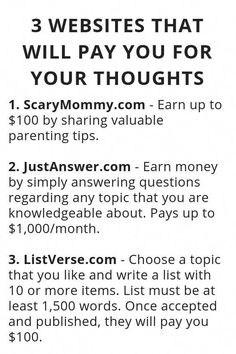 3 Websites That Will Pay You For Your Thoughts - Wisdom Lives Here 9 Easy Health Life Hacks to create Your Body FEEL JUST LIKE New! hacks 1 diy hacks hacks of life hacks Ways To Earn Money, Earn Money From Home, Money Saving Tips, Way To Make Money, Earn Money Online, Making Money From Home, Money Hacks, Money Fast, Legit Work From Home