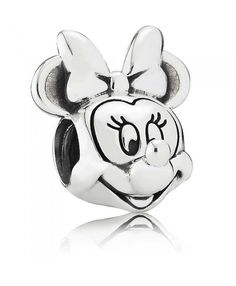 """PANDORA Disney Minnie Portrait Charm - """"Believe in Magic!"""" The PANDORA Disney Minnie Portrait Charm is sterling silver and features Minnie Mouse's head. This charm is great for commemorating a trip to Disney World or Disney Land! Pandora Charms Disney, Pandora Uk, Pandora Bracelets, Pandora Jewelry, Charm Jewelry, Diy Jewelry, Jewlery, Pandora Beads, Jewelry Logo"""