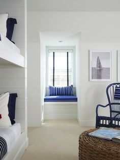 Lynn Morgan Design: Nautical theme boys' bedroom with white tongue and groove paneled built-in bunk beds ...