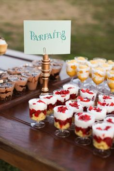 Parfaits in different flavors served individually #wedding #weddingdessert #desserttable #parfaits #diywedding