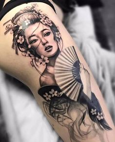 ~ Geisha ~ Best Picture For Tattoo family For Your Taste You are looking for something, and it is going … Japanese Geisha Tattoo, Japanese Tattoo Symbols, Japanese Tattoo Designs, Japanese Sleeve Tattoos, Japanese Tattoo Women, Tattoo Japanese Style, Asian Tattoos, Leg Tattoos, Body Art Tattoos