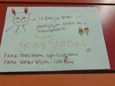 een poster op school (fantasie, onderkast, romein)