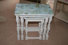 Nest of 3 Tables Shabby Chic Annie Sloan Old White and Distressed Collection from Weston Super Mare BS22 9TR A Lovely Nest of 3 Tables... Hand painted in Annie Sloan Old White and distressed for a Shabby Chic look. The tops have been coated with beautiful floral paper and all finished with 3 coats of Polyvine Dead...