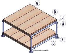 Bouwtekening om een tafel te maken van #steigerbuizen en #steigerhout