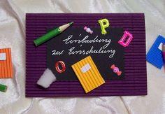 Einladung  zur  Einschulung/Schulanfang Schultafel Lila Bunt Handarbeit NEU in Möbel & Wohnen, Feste & Besondere Anlässe, Karten & Schreibwaren | eBay!