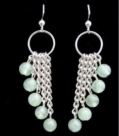 Jade gemstone rounds dangling from silver chain Jewelry Findings, Wire Jewelry, Jewelry Crafts, Beaded Jewelry, Hippie Jewelry, Pearl Jewelry, Pendant Jewelry, Bead Earrings, Gemstone Earrings