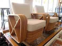 Paul Frankl Style Banded RATTAN Club Chairs for the Living Room ;)