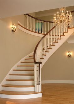 Nice Curved Staircase   Neutral Walls, Simple Wooden Risers And Steps  Wooden Staircase Design,