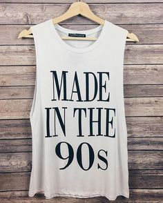Made in the 90s Tank now available in white! Only $12 right now on shopdevi.com • #shopdevi