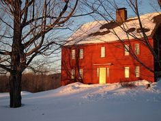 pretty Maine barn in the snow. I love a red barn!