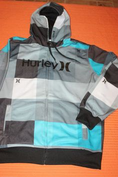 Hurley Extra Large XL Men's Cyan Blue Gray Zipper Hoodie Sweatshirt Fleece Lined | eBay