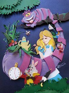 Raphael Oda - Disney Alice in Wonderland 3d Paper Art, 3d Paper Crafts, Paper Artwork, Comic Anime, Art Plastique, Disney Art, Paper Cutting, Cut Paper, Paper Dolls
