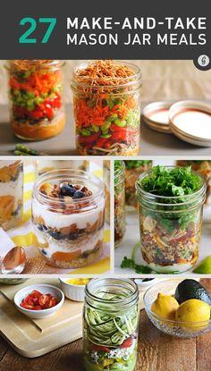 Healthy Mason Jar Recipes — So easy, healthy, and delicious, you'll start buying mason jars in bulk. #masonjar #healthy #recipes #greatist