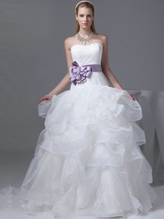 $389.79Elegant Ball Gown Organza Sweetheart Sweep Train Wedding Dresses #Cheap #wedding #dresses #