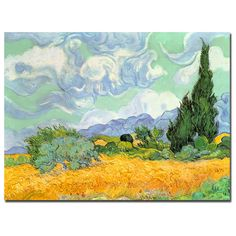 Vincent van Gogh 'Wheatfield with Cypresses 1889' Gallery-Wrapped Canvas Art
