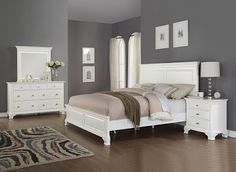 Roundhill Furniture Laveno 012 White Wood Bedroom Furniture Set -Wood bedroom series with contemporary styling, finished in white -Collection includes 1 queen size bed, Headboard: 66 X 3 X 57''H, Footboard: 66 X 3 X 19''H, R:82 X 1 X 13''H Master Bedroom Idea on budget for couples.White Color Scheme Modern #white #modern #rustic #bedroom idea #for couples #romantic #apartment