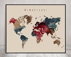 World map watercolor print travel map large world map minimalist wanderlust world map print world map poster world map art world map wall art watercolor travel map large world map artprintsvicky gumiabroncs Gallery