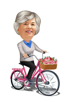 Caricature Online, Caricature From Photo, Caricature Artist, Pink Bike, Grey Sweatshirt, Old Women, Red Flowers, Baby Strollers, How To Draw Hands