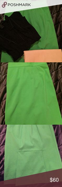 Diane Von Furstenberg courgarette pencil skirt. Diane Von Furstenberg green pencil skirt. Worn a few times but  in excellent condition. Has some stretch to it and cute bottom detail in back. Diane von Furstenberg Skirts Pencil