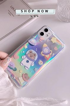 Cartoon Holographic Universe Galaxy Bear iPhone Case [Video]   Beautiful iphone case, Diy phone case, Iphone cases