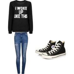 Seventh grade by haileynwmg on Polyvore featuring polyvore fashion style Ally Fashion Converse