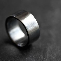 Men's Silver Wedding Band, 10mm Wide, Simple Flat Band Recycled Argentium Oxidized Sterling Silver Ring - Made in Your Size