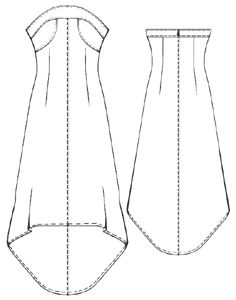 Dress with low-cut neckline. Hi-low style Free sewing pattern