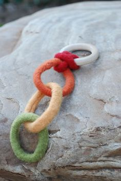 Knit (felted wool) rings/links for baby