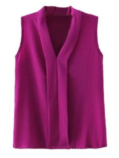 Shop Purple V-neck Sleeveelss Chiffon Blouse from choies.com .Free shipping Worldwide.$18.99