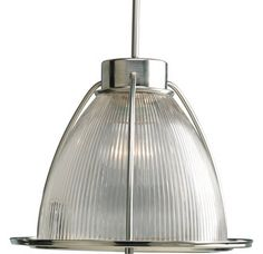 """View the Progress Lighting P5183 Glass Pendants Series 16"""" Single-Light Stem-Hung Caged Pendant with Clear Prismatic Glass Shade at LightingDirect.com."""