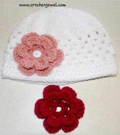 Crochet Interchangeable Flower Hat (All Sizes) I made this hat for my toddler. The 6 petal layered flowers can be fastened o. Crochet Interchangeable Flower Shell Hat I made this crochet shell hat for my toddler. The 6 petal layered flow. Crochet Toddler Hat, Crochet Puff Flower, Crochet Kids Hats, Crochet Flower Patterns, Crochet Beanie, Crochet Gifts, Crochet Clothes, Crochet Flowers, Crocheted Hats