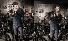 """""""Bikers with Style"""" Editorial Fashion Story. First Luxe Magazine / Photographer: Jacques Beneich / Models: Louis Mazières & Valentin d'Hoore / Stylist: Marie Revelut / Make-Up & Hair: Anne Arnold / Making-Of Video: Juliette Beneich / https://www.youtube.com/watch?v=7WEj4gpjKs8 / Responsable Prod & Décor: Virginia Valère / Assistants: Flora & Nico / Studio: La Plateform / Thanks to: Harley-Davidson / ATS Etoile / Jean-Charles Geneste / Guillaume Tanner / Véronique Gaillard / Marc /"""