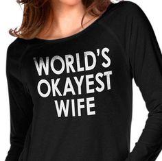 Wife Gift World's Okayest Wife Womens T shirt Wedding by ebollo