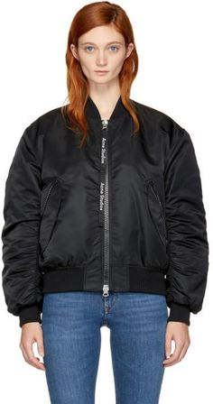 Acne Studios Black Clea Bomber Jacket  #ShopStyle #MyShopstyle #fallfashion #wearitloveit # Women bomber jacket #quilted #wool #leather #fleece # camouflage # Faux-fur  click for more information or to purchase the item