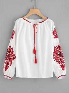 Shop Tassel Tie Lantern Sleeve Embroidery Blouse online. SheIn offers  Tassel Tie Lantern Sleeve Embroidery 7d02a529a71d