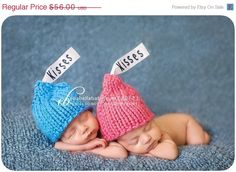 Sale off now Valentines Twin kisses baby hats Sizes Preemie to 12 months great photography prop Twin Photos, Cute Photos, Newborn Photos, Twin Babies, Cute Babies, Foto Baby, Baby Fever, Future Baby, Beautiful Babies