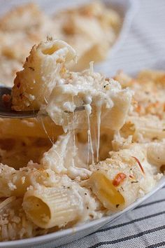 Creamy Baked Four-Cheese Pasta: This is a sophisticated mac and cheese recipe that turns a simple cheese sauce into a spectacular meal with just the use of a screaming hot oven. Four Cheese Pasta, Cheese Pasta Bake, Great Recipes, Favorite Recipes, Paula Deen, I Love Food, Food Dishes, The Best, Food Porn