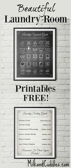 GENIUS! And FREE! Pinning for my Laundry room makeover. Free Decor!  Laundry room just not functioning the way you want? Looking rather lackluster?  That's why I LOVE these FREE printables for laundry room! Not only do they look elegant on the wall, but they serve an actual purpose by helping you translate the common laundry symbols found on clothing.