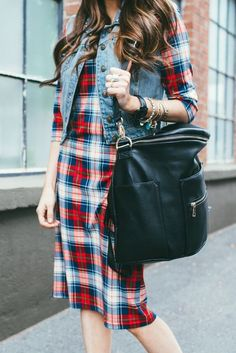 Everyday Tee Dress: Navy Plaid