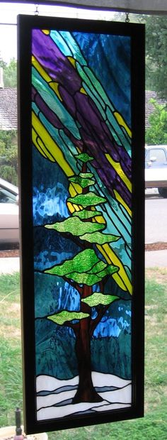 Northern Lights Side Lite, from Glassmith Studios, A Break in Time x Stained Glass Lamps, Stained Glass Designs, Stained Glass Panels, Stained Glass Projects, Stained Glass Patterns, Leaded Glass, Mosaic Art, Mosaic Glass, Glass Vase