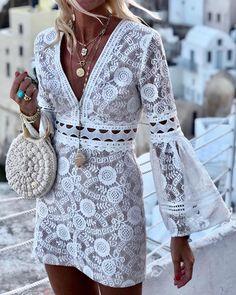 Hollow Out Bell Sleeve Lace Dress - Abiti estivi Lace Dress With Sleeves, The Dress, Dress Lace, Dress Shoes, Fringe Dress, Lace Dresses, Vintage Dresses, Boho Chic, Boho Fashion
