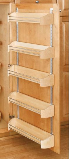 "Rev-A-Shelf 4235-20-5 4200 Series 20"" Wide Door Storage Tray with Screw-In Clips Natural Wood Base Cabinet Organizers Utility Racks Door Mount"