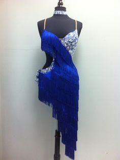 Azul latino Vestido de baile latino azul franja vestidos de