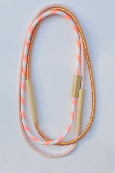 Holz- & -Stoff-Ketten - gemischte 3-teilig - Metallic Kupfer, Pale Pink und Neon-Lachs gestreift Baumwolle
