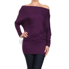 """Dolman Sleeved Tunic Top (Eggplant) ✳️Bundle to save 15%✳️ 95% Rayon, 5% Spandex Long sleeved Off the shoulder Color: Eggplant Fits true to size Length: 31.5"""" Made in the USA Boutique  Tops Tunics"""