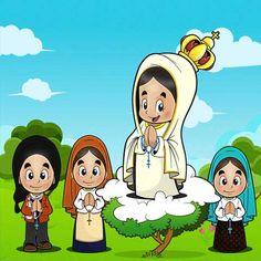 Desenho de Nossa Senhora de Fátima My Maria, Santa Maria, Lady Of Fatima, Hail Mary, God Loves You, Mother Mary, Doll Patterns, Luigi, Haikyuu